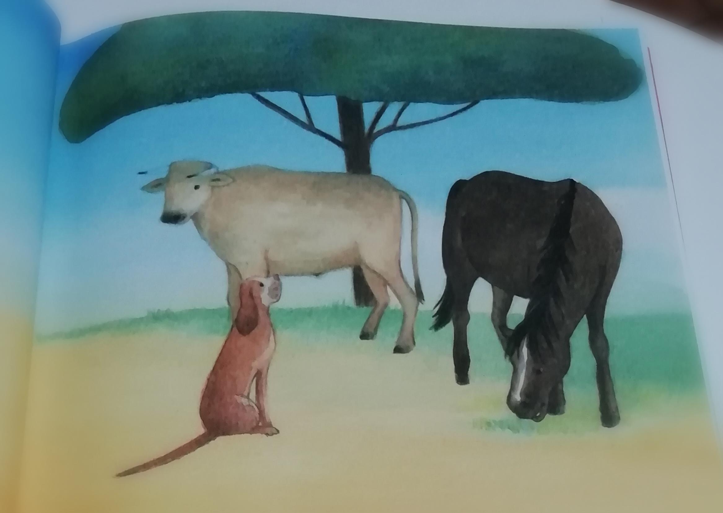 Ai margini del deserto, sotto l'ombra di un'acacia si erano riuniti un cane, un cavallo e un bue. Discutevano ad alta voce ...
